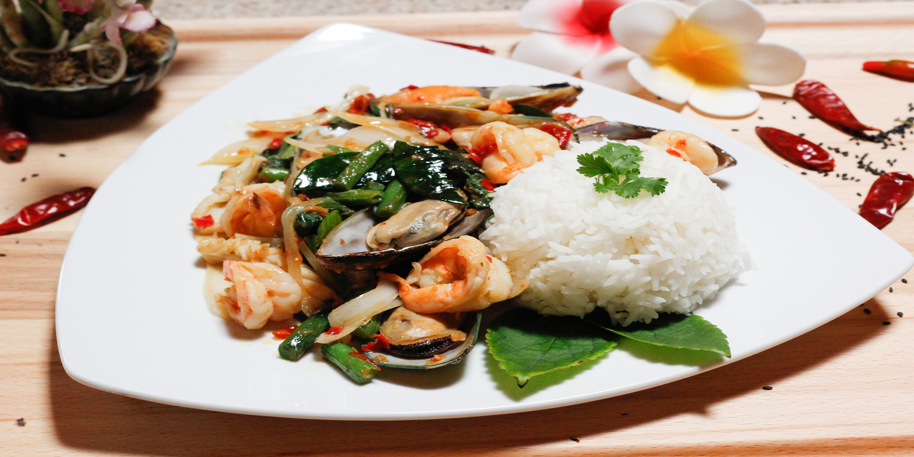 Spicy Seafood with thai basil leaf